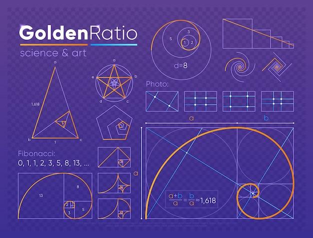 Conjunto de elemento de proporción dorada