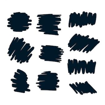 Conjunto de elementos abstractos garabato negrita pluma