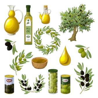 Conjunto de elementos de aceite de oliva de dibujos animados