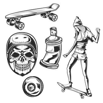 Conjunto de elementos de actividades callejeras para crear sus propias insignias, logotipos, etiquetas, carteles, etc.