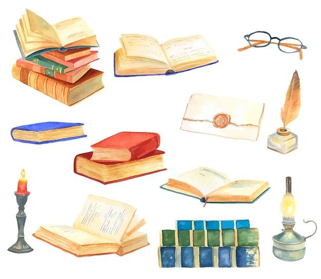 Conjunto de elementos de acuarela dibujados a mano de la antigua biblioteca