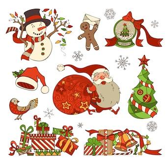 Conjunto de elementos y adornos navideños