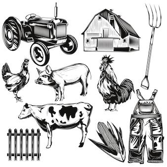 Conjunto de elementos agrícolas.