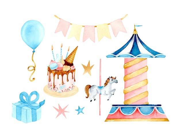 Conjunto de elementos aislados acuarela de carrusel de cumpleaños