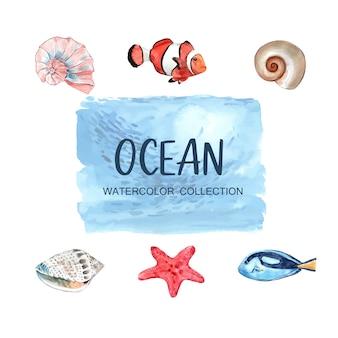 Conjunto de elementos aislados de animales marinos