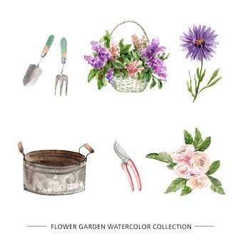 Conjunto de elementos aislados de jardín de flores acuarela ilustración.