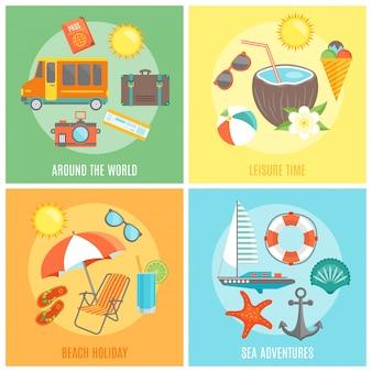 Conjunto de elementos aislados de verano
