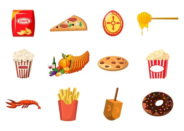 Conjunto de elementos alimenticios. conjunto de dibujos animados de comida