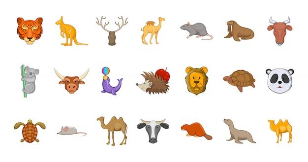 Conjunto de elementos de animales. conjunto de dibujos animados de elementos vectoriales de animales