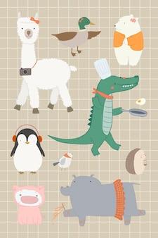Conjunto de elementos de animales lindos