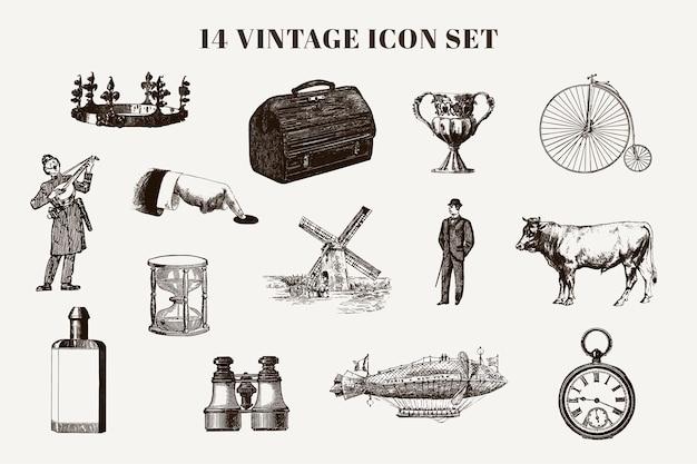 Conjunto de elementos, animales y personajes vintage.