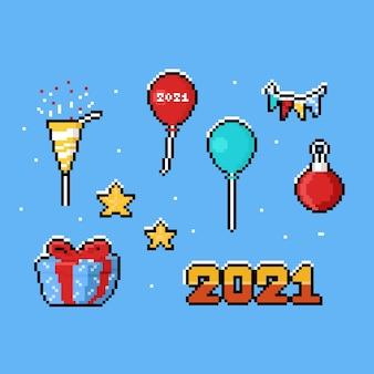 Conjunto de elementos de año nuevo de dibujos animados de pixel art