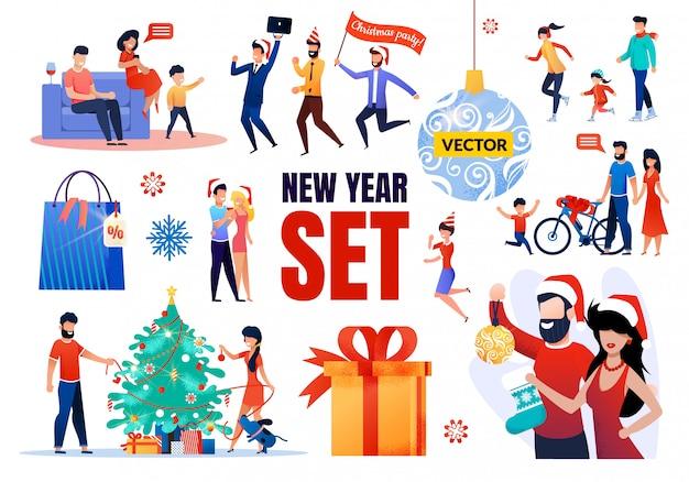 Conjunto de elementos de año nuevo