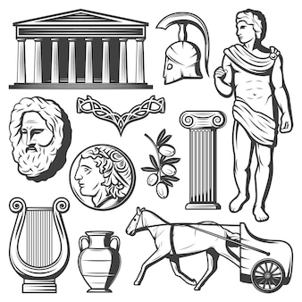 Conjunto de elementos de la antigua grecia vintage