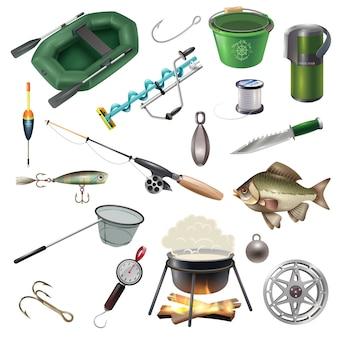 Conjunto de elementos de aparejo de pesca