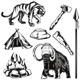 Conjunto de elementos de aplicaciones y animales antiguos.