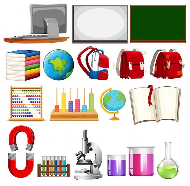 Conjunto de elementos de aprendizaje escolar.