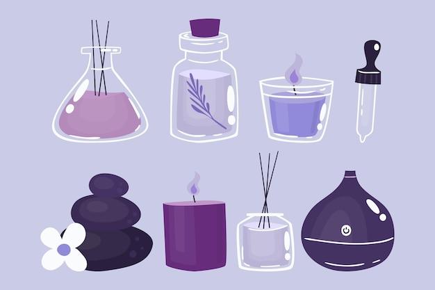 Conjunto de elementos de aromaterapia dibujados a mano