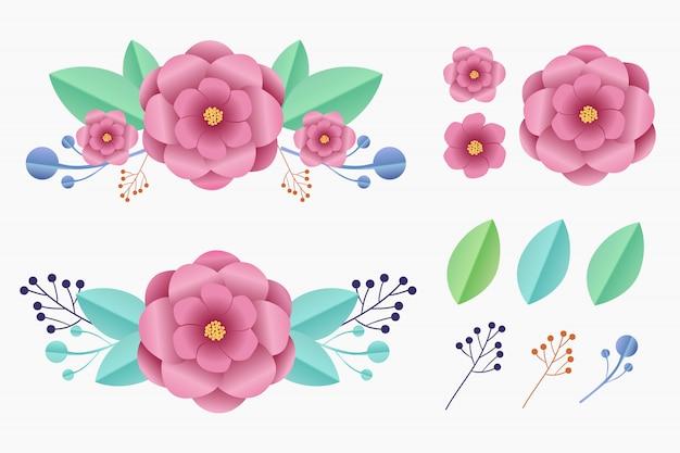 Conjunto de elementos de arte de papel de flor para el ornamento.