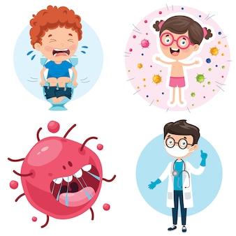 Conjunto de elementos de atención médica con personajes de dibujos animados