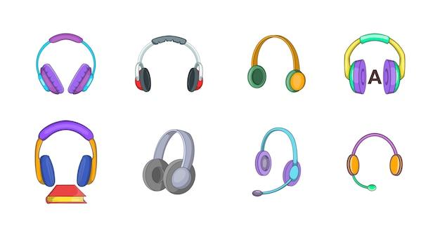 Conjunto de elementos de auriculares. conjunto de dibujos animados de elementos de vector de auriculares