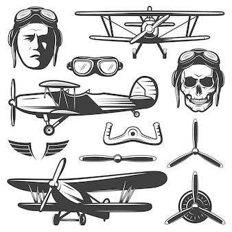 Conjunto de elementos de aviones vintage