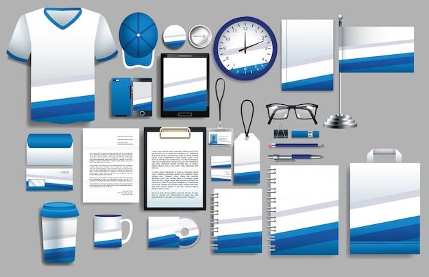 Conjunto de elementos azules y blancos con plantillas de papelería
