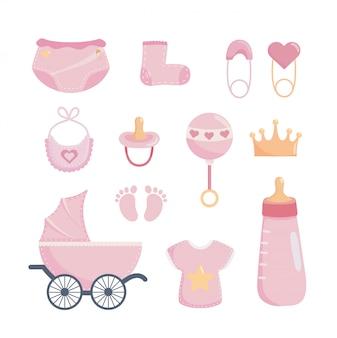 Conjunto de elementos de baby shower.