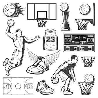 Conjunto de elementos de baloncesto vintage