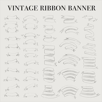 Conjunto de elementos de banner de contorno de cinta vintage
