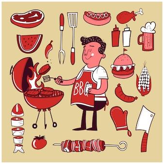Conjunto de elementos de barbacoa dibujados a mano con cocinero