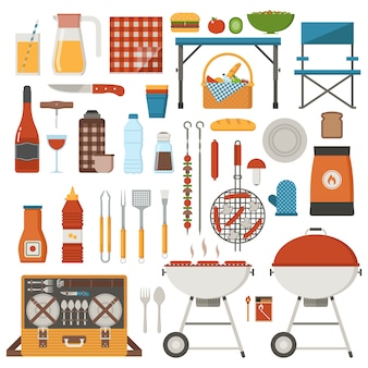 Conjunto de elementos de barbacoa y picnic. colección de fin de semana familiar con parrilla de barbacoa, utensilios de barbacoa, comida a la parrilla y utensilios para asar.