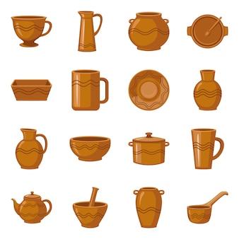 Conjunto de elementos de barro y cerámica de dibujos animados. ilustración aislada mug.jug.pot y otra loza de barro. conjunto de elementos de plato de cerámica, cuenco y florero.