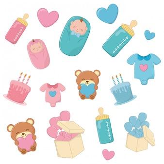 Conjunto de elementos para bebé en azul y rosa.