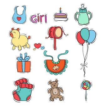 Conjunto de elementos de bebé con estilo dibujado a mano de color