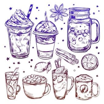 Conjunto de elementos de bebidas calientes de invierno