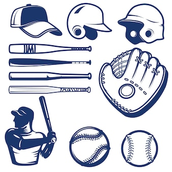 Conjunto de elementos de béisbol. golpes de béisbol, pelotas, guantes, sombreros. elementos para logotipo, etiqueta, emblema, signo. ilustración