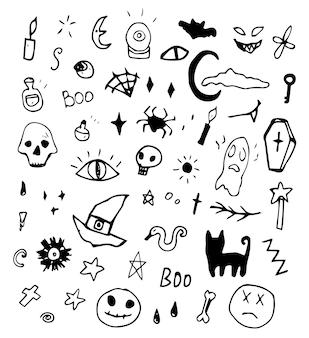 Conjunto de elementos de blanco y negro de iconos de halloween de doodle dibujados a mano