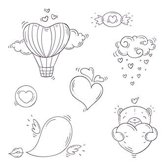 Conjunto de elementos en blanco y negro para st. día de san valentín en estilo doodle.