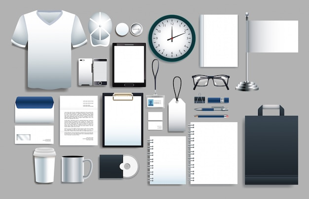 Conjunto de elementos blancos con plantillas de papelería.