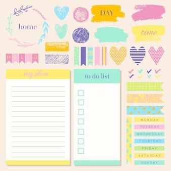 Conjunto de elementos de bloc de notas lindo planificador