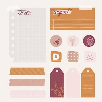 Conjunto de elementos de bloc de notas de planificador encantador