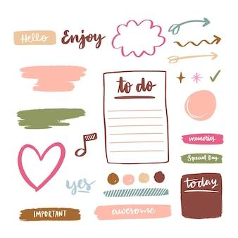 Conjunto de elementos de bloc de notas de planificador