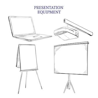 Conjunto de elementos de boceto de presentación de negocios