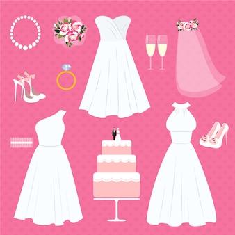 Conjunto de elementos de boda y accesorios de novia.