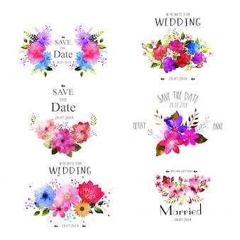 Conjunto de elementos de boda con flores de acuarela.