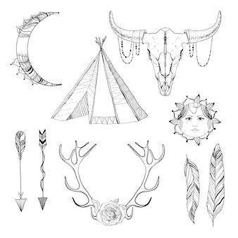 Conjunto de elementos de boho boho