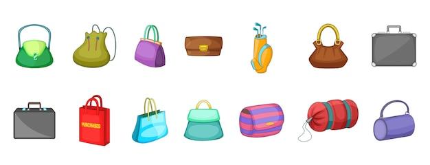 Conjunto de elementos de bolso de mano. conjunto de dibujos animados de elementos de vector de bolso de mano