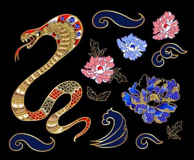 Conjunto de elementos bordados parche serpiente y peonía con lentejuelas.