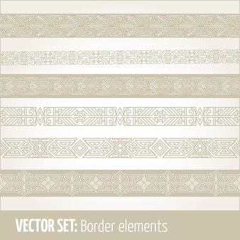 Conjunto de elementos de borde y elementos de decoración de página.